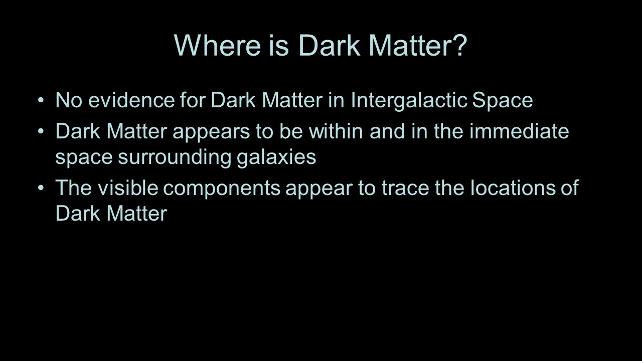 Where is Dark Matter.