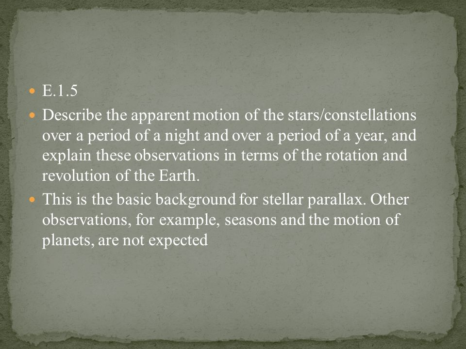 E.1.5 Describe the apparent motion of the stars/constellations over a period of a night and over a period of a year, and explain these observations in terms of the rotation and revolution of the Earth.