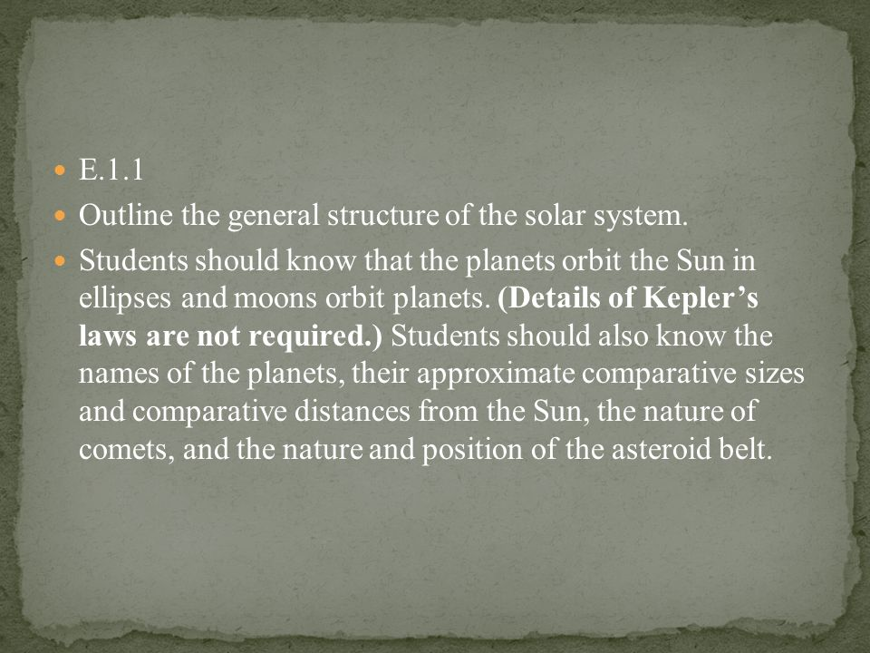 E.1.1 Outline the general structure of the solar system.