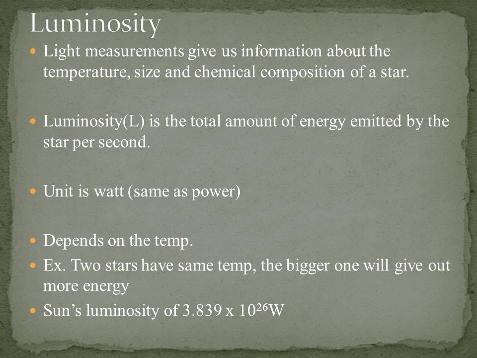 Light measurements give us information about the temperature, size and chemical composition of a star.