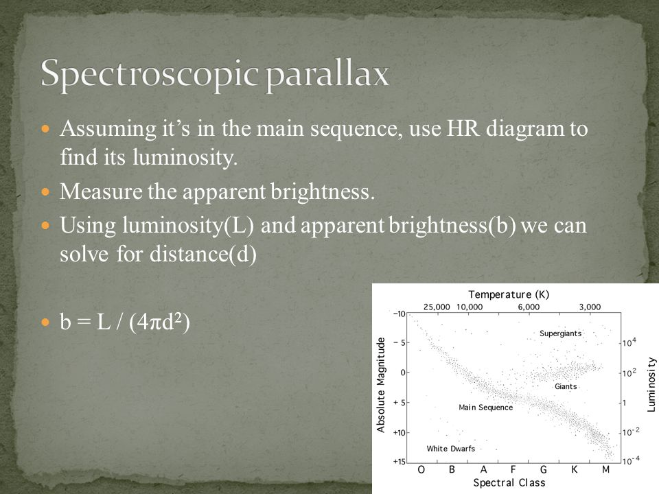 Assuming it's in the main sequence, use HR diagram to find its luminosity.