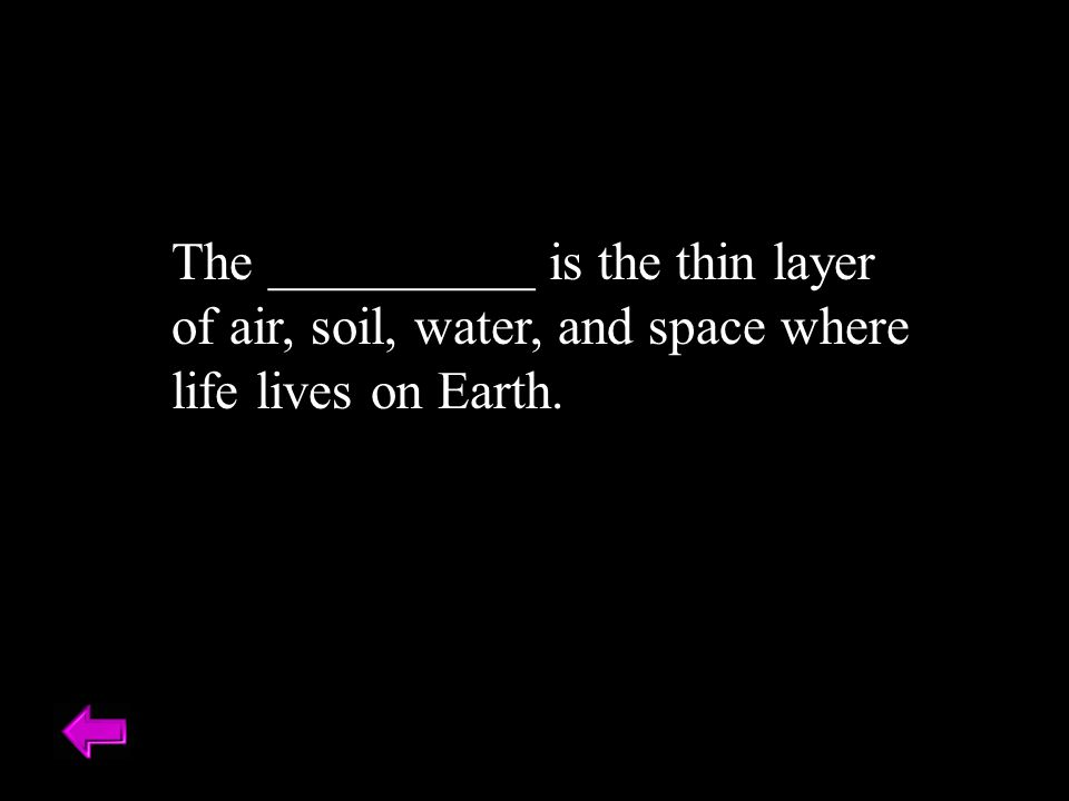 The __________ is the thin layer of air, soil, water, and space where life lives on Earth. Biosphere