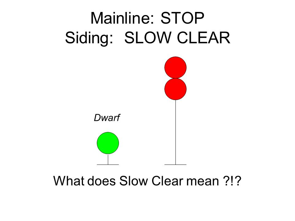 Mainline: STOP Siding: SLOW CLEAR Dwarf What does Slow Clear mean !