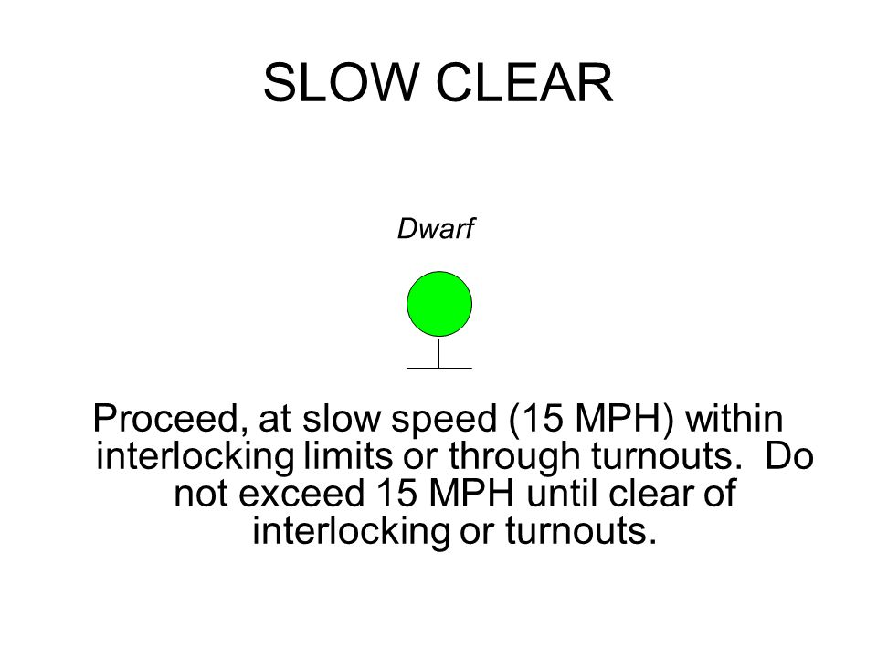SLOW CLEAR Proceed, at slow speed (15 MPH) within interlocking limits or through turnouts.