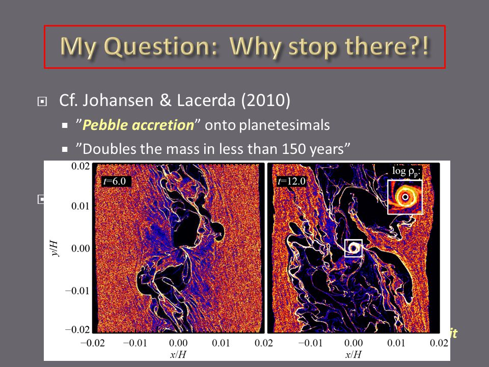 """ Cf. Johansen & Lacerda (2010)  """"Pebble accretion"""" onto planetesimals  """"Doubles the mass in less than 150 years""""  Why should it stop there?  Tech"""