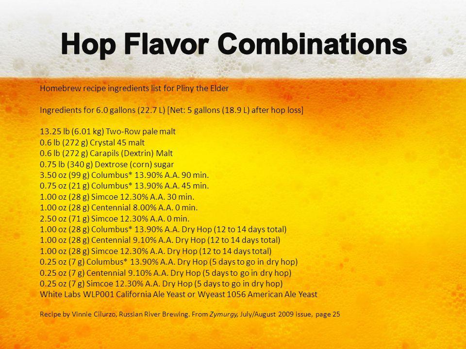 Homebrew recipe ingredients list for Pliny the Elder Ingredients for 6.0 gallons (22.7 L) [Net: 5 gallons (18.9 L) after hop loss] 13.25 lb (6.01 kg)