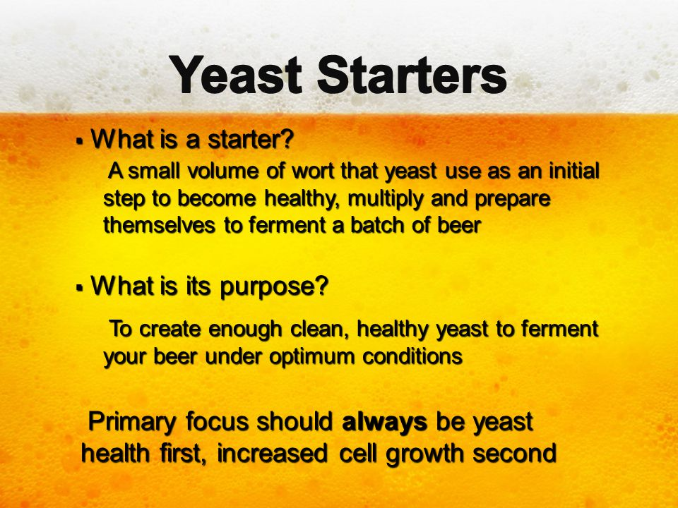  What is a starter? A small volume of wort that yeast use as an initial step to become healthy, multiply and prepare themselves to ferment a batch of