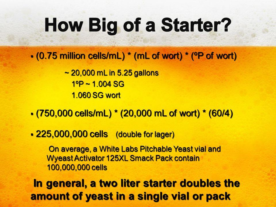  (0.75 million cells/mL) * (mL of wort) * (ºP of wort) ~ 20,000 mL in 5.25 gallons ~ 20,000 mL in 5.25 gallons 1ºP ~ 1.004 SG 1ºP ~ 1.004 SG 1.060 SG