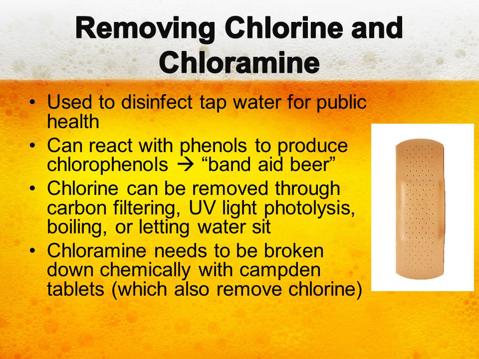 """Used to disinfect tap water for public health Can react with phenols to produce chlorophenols  """"band aid beer"""" Chlorine can be removed through carbon"""
