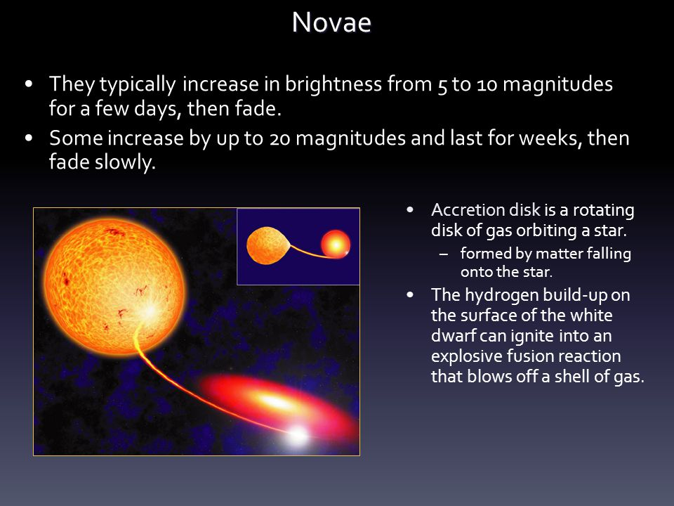 Novae They typically increase in brightness from 5 to 10 magnitudes for a few days, then fade. Some increase by up to 20 magnitudes and last for weeks
