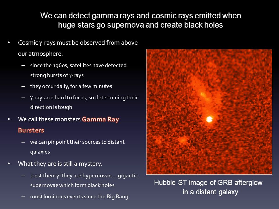 Hubble ST image of GRB afterglow in a distant galaxy We can detect gamma rays and cosmic rays emitted when huge stars go supernova and create black ho