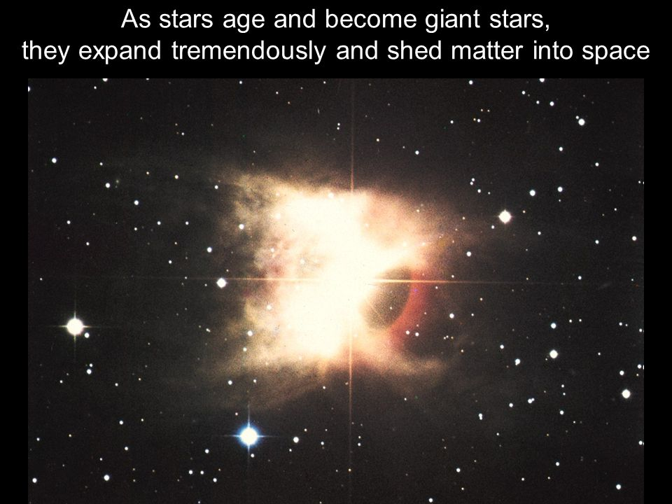 As stars age and become giant stars, they expand tremendously and shed matter into space