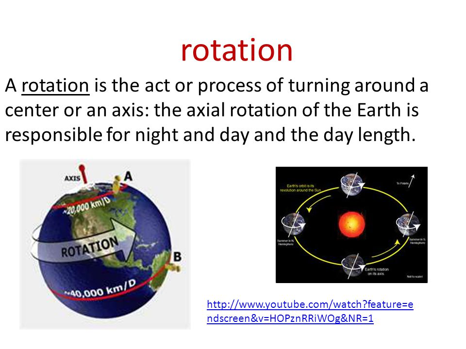 rotation A rotation is the act or process of turning around a center or an axis: the axial rotation of the Earth is responsible for night and day and