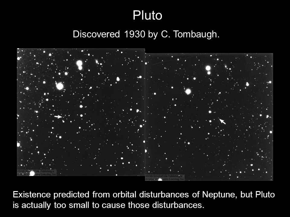 Pluto Discovered 1930 by C.Tombaugh.