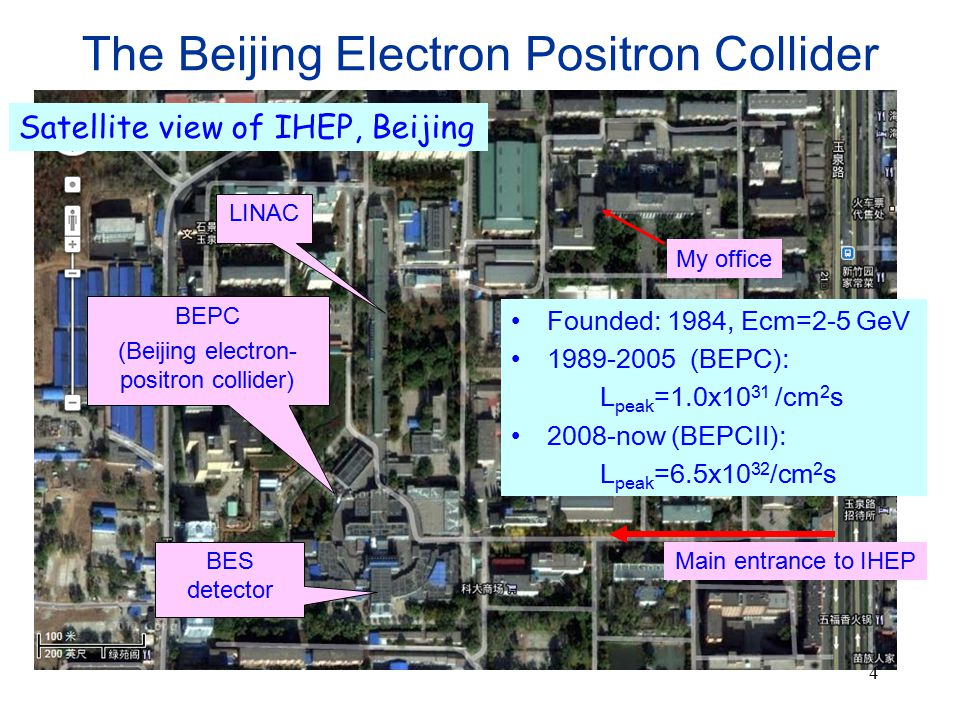 4 The Beijing Electron Positron Collider My office LINAC BEPC (Beijing electron- positron collider) BES detector Main entrance to IHEP Satellite view