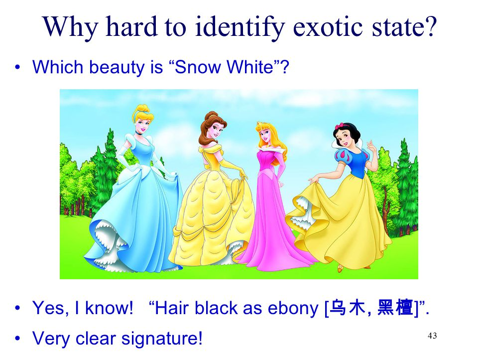 "43 Why hard to identify exotic state? Which beauty is ""Snow White""? Yes, I know! ""Hair black as ebony [乌木, 黑檀]"". Very clear signature!"
