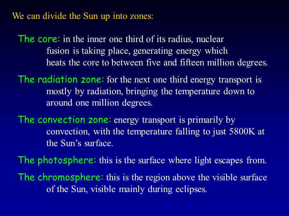We can divide the Sun up into zones: The core: in the inner one third of its radius, nuclear fusion is taking place, generating energy which heats the core to between five and fifteen million degrees.