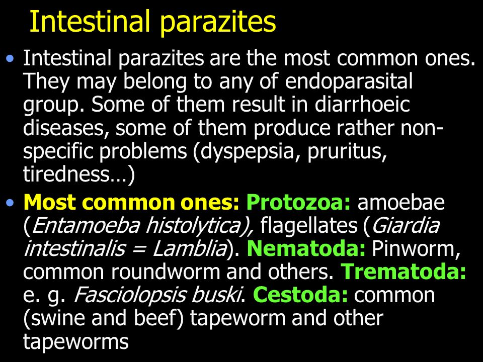 Intestinal parazites Intestinal parazites are the most common ones. They may belong to any of endoparasital group. Some of them result in diarrhoeic d