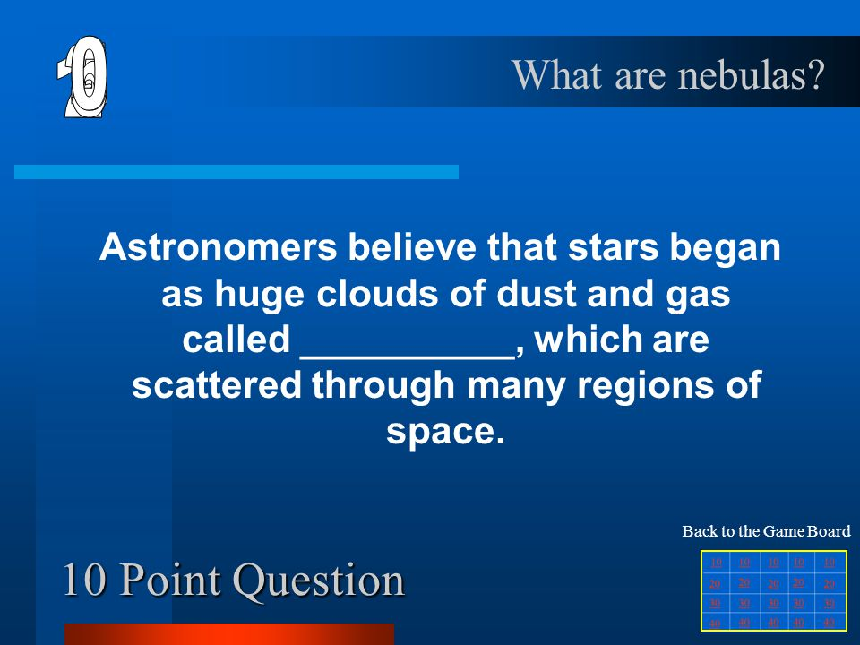 40 Point Question Humans and animals all have this and so do stars, even though they aren't living things.