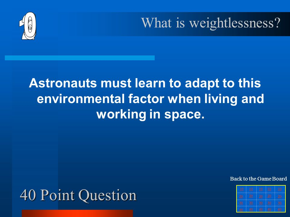 30 Point Question List three important things spacesuits have.