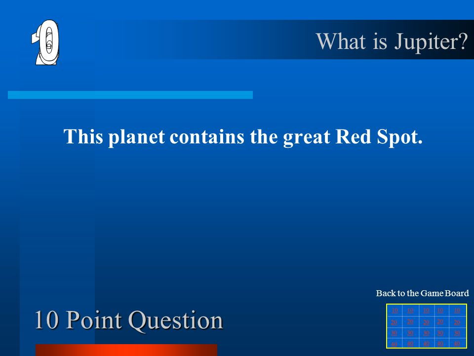 Final Jeopardy Question PlanetsStars Life of Stars Telescopes Living in Space 10 20 30 40