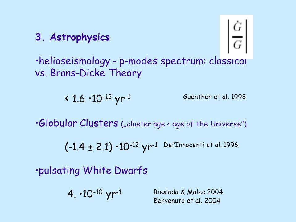 2. Celestial Mechanics Moon - Earth system (LLR) < 8 10 -12 yr -1Williams et al.