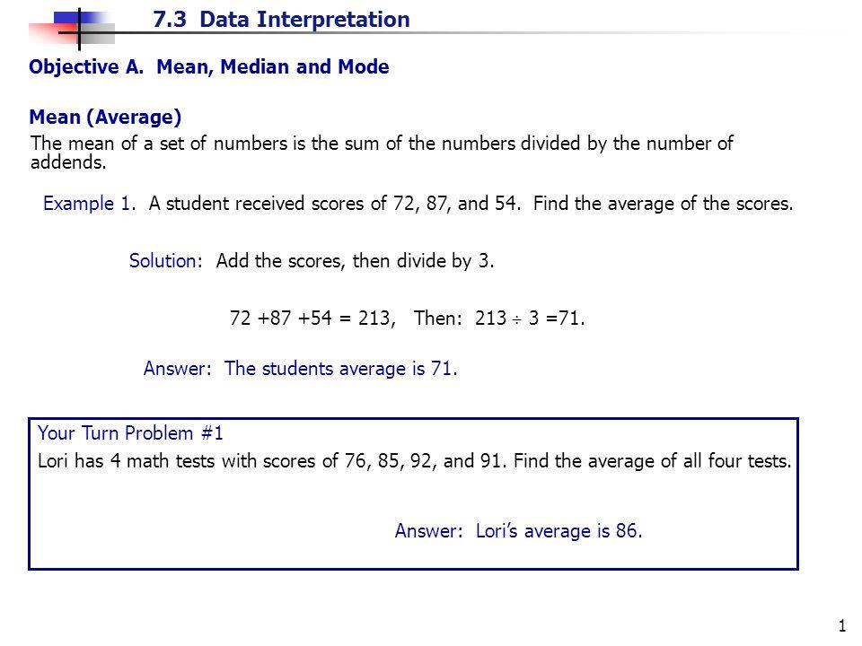 7.3 Data Interpretation 1 Objective A.