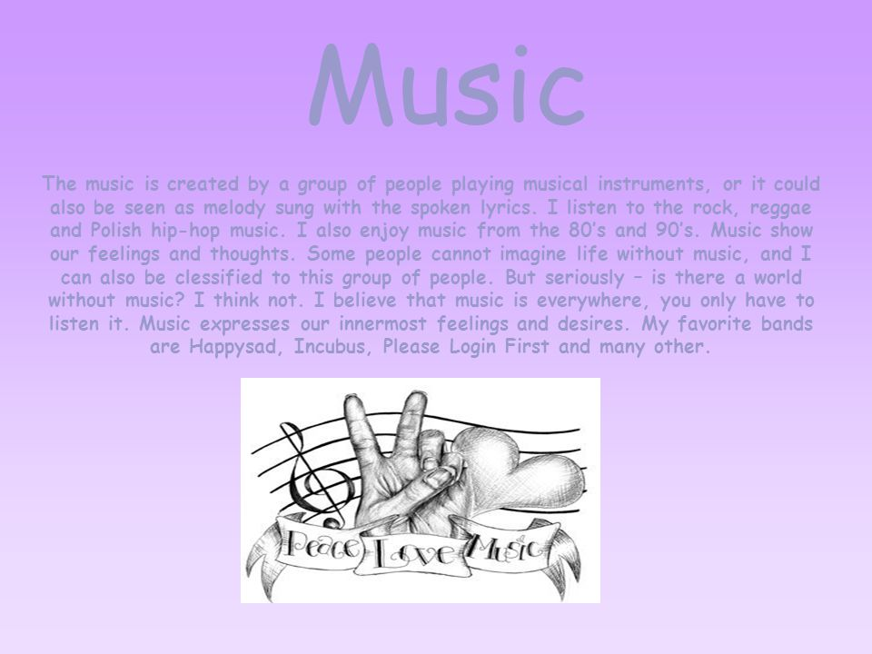 The music is created by a group of people playing musical instruments, or it could also be seen as melody sung with the spoken lyrics.