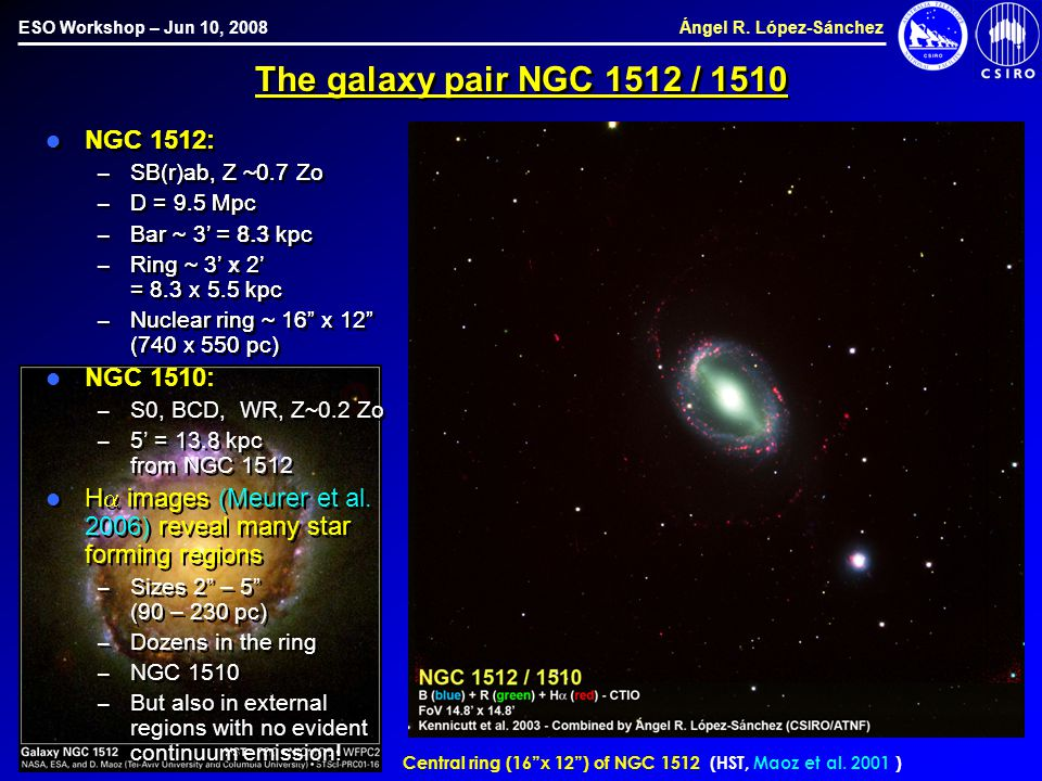 "ESO Workshop – Jun 10, 2008 Ángel R. López-Sánchez The galaxy pair NGC 1512 / 1510 Central ring (16""x 12"") of NGC 1512 (HST, Maoz et al. 2001 ) NGC 15"