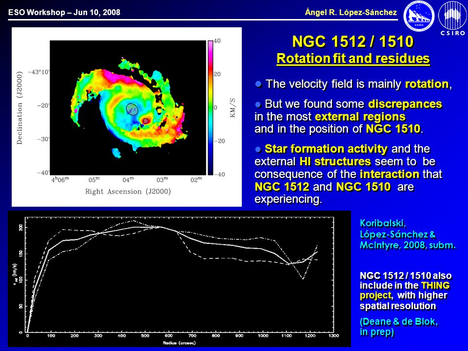 ESO Workshop – Jun 10, 2008 Ángel R. López-Sánchez NGC 1512 / 1510 Rotation fit and residues The velocity field is mainly rotation, But we found some