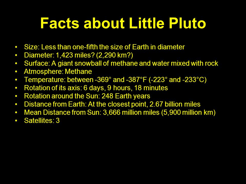 Facts about Little Pluto Size: Less than one-fifth the size of Earth in diameter Diameter: 1,423 miles? (2,290 km?) Surface: A giant snowball of metha