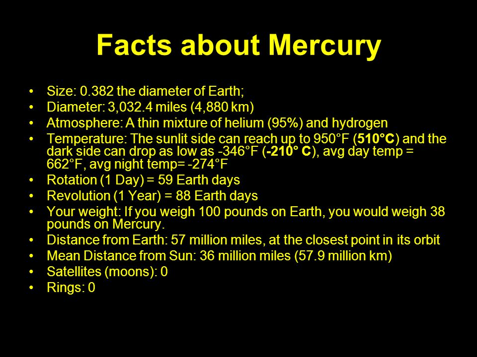 Facts about Mercury Size: 0.382 the diameter of Earth; Diameter: 3,032.4 miles (4,880 km) Atmosphere: A thin mixture of helium (95%) and hydrogen Temp