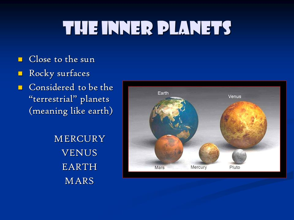 The Inner Planets Close to the sun Close to the sun Rocky surfaces Rocky surfaces Considered to be the terrestrial planets (meaning like earth) Considered to be the terrestrial planets (meaning like earth)MERCURYVENUSEARTHMARS