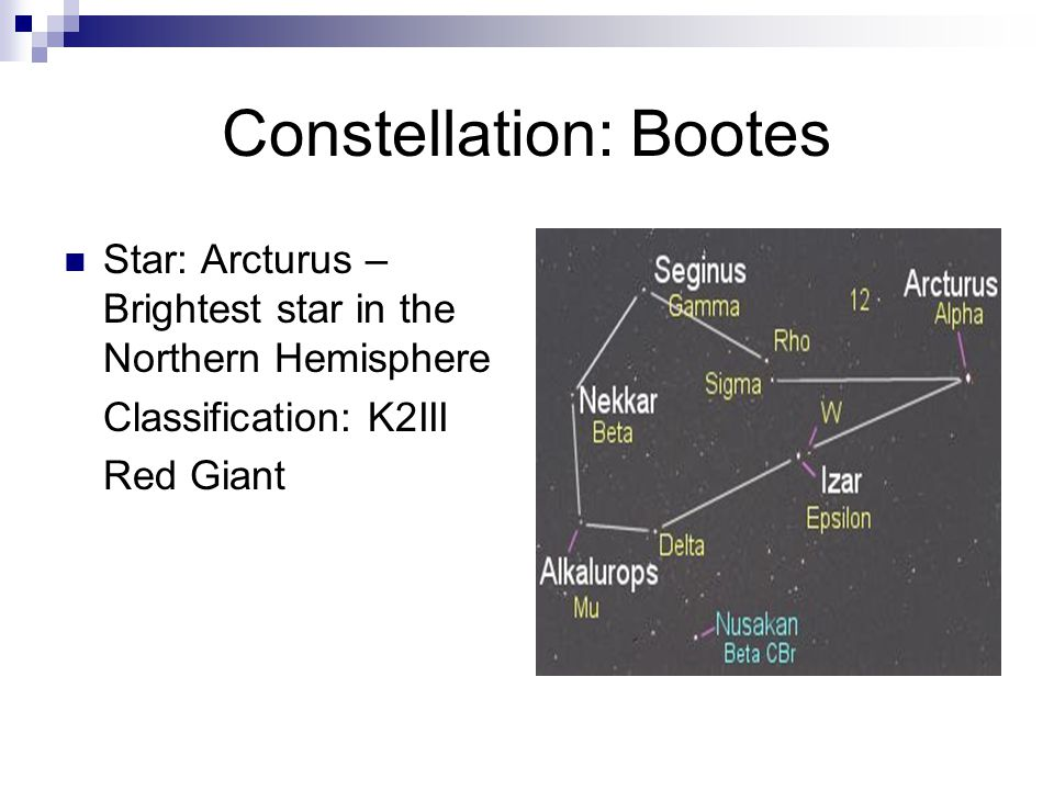 Constellation: Bootes Star: Arcturus – Brightest star in the Northern Hemisphere Classification: K2III Red Giant