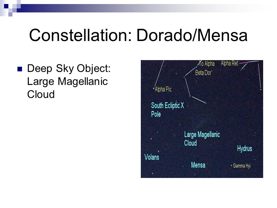 Constellation: Mensa/Dorado Deep Sky Object: Large Magellanic Cloud