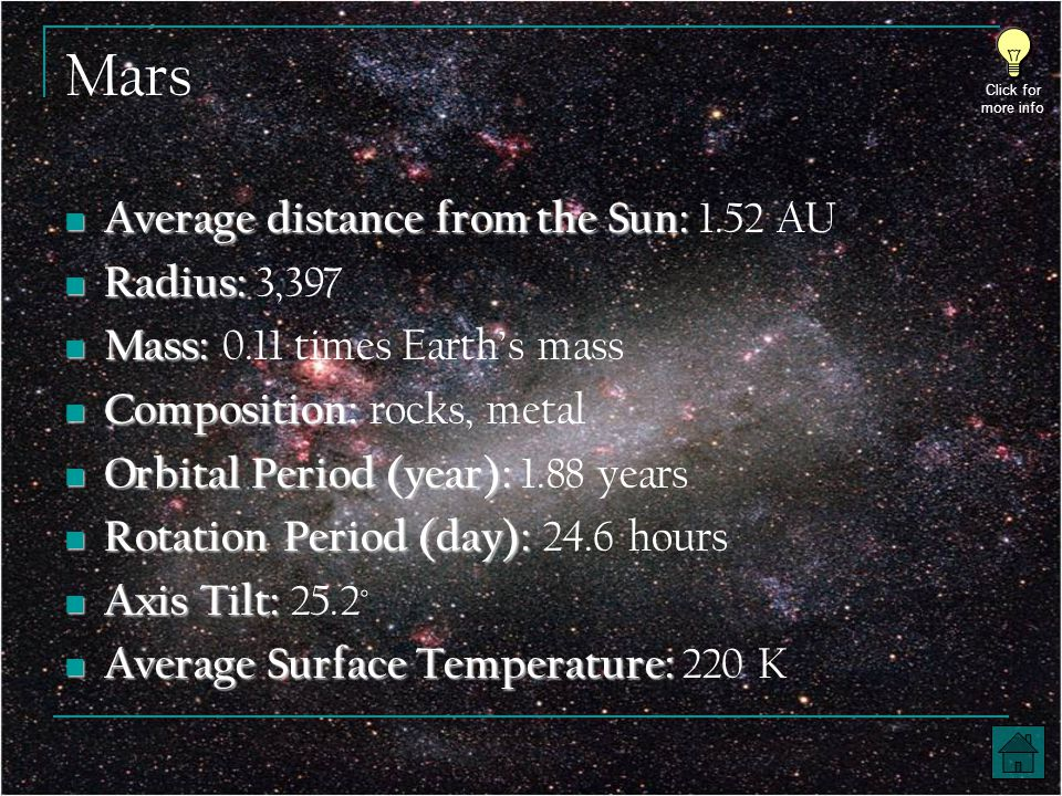 Mars Average distance from the Sun: Average distance from the Sun: 1.52 AU Radius: Radius: 3,397 Mass: Mass: 0.11 times Earth's mass Composition: Composition: rocks, metal Orbital Period (year): Orbital Period (year): 1.88 years Rotation Period (day): Rotation Period (day): 24.6 hours Axis Tilt: Axis Tilt: 25.2 ˚ Average Surface Temperature: Average Surface Temperature: 220 K Click for more info