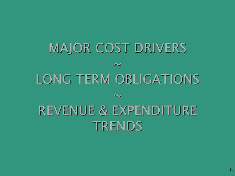 6 MAJOR COST DRIVERS ~ LONG TERM OBLIGATIONS ~ REVENUE & EXPENDITURE TRENDS