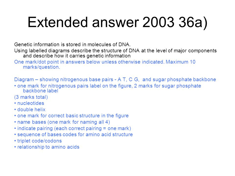 Extended answer 2003 36a) Genetic information is stored in molecules of DNA.