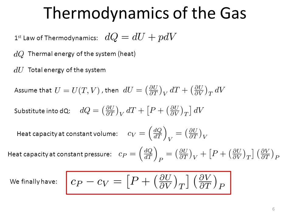 Thermodynamics of the Gas 6 1 st Law of Thermodynamics: Thermal energy of the system (heat) Total energy of the system Assume that, then Substitute into dQ: Heat capacity at constant volume: Heat capacity at constant pressure: We finally have: