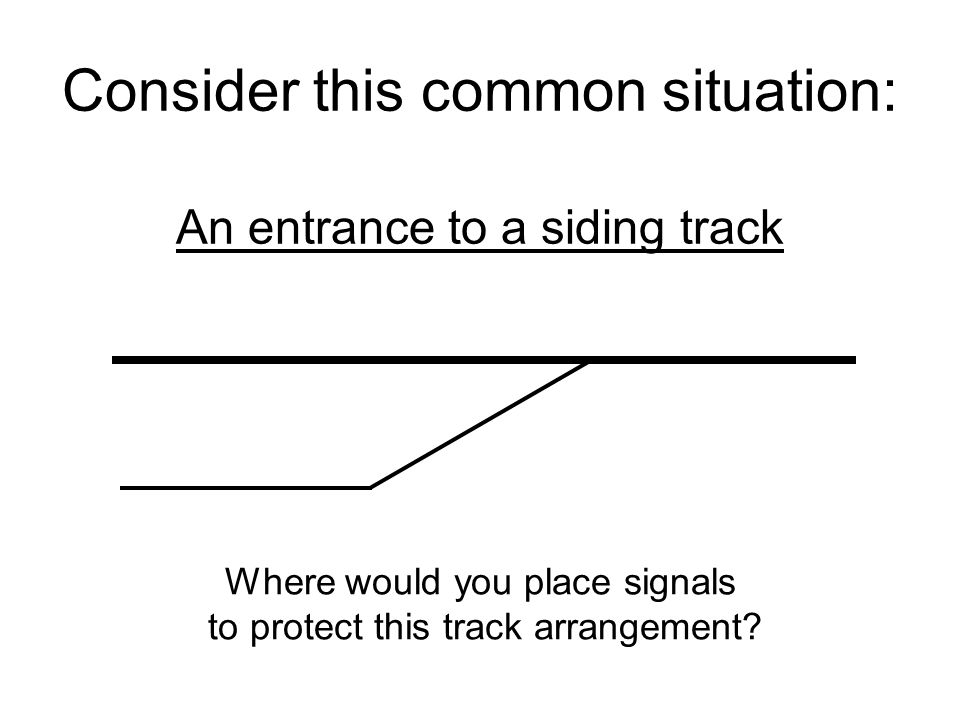 Consider this common situation: An entrance to a siding track Where would you place signals to protect this track arrangement