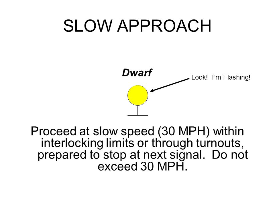 SLOW APPROACH Proceed at slow speed (30 MPH) within interlocking limits or through turnouts, prepared to stop at next signal.