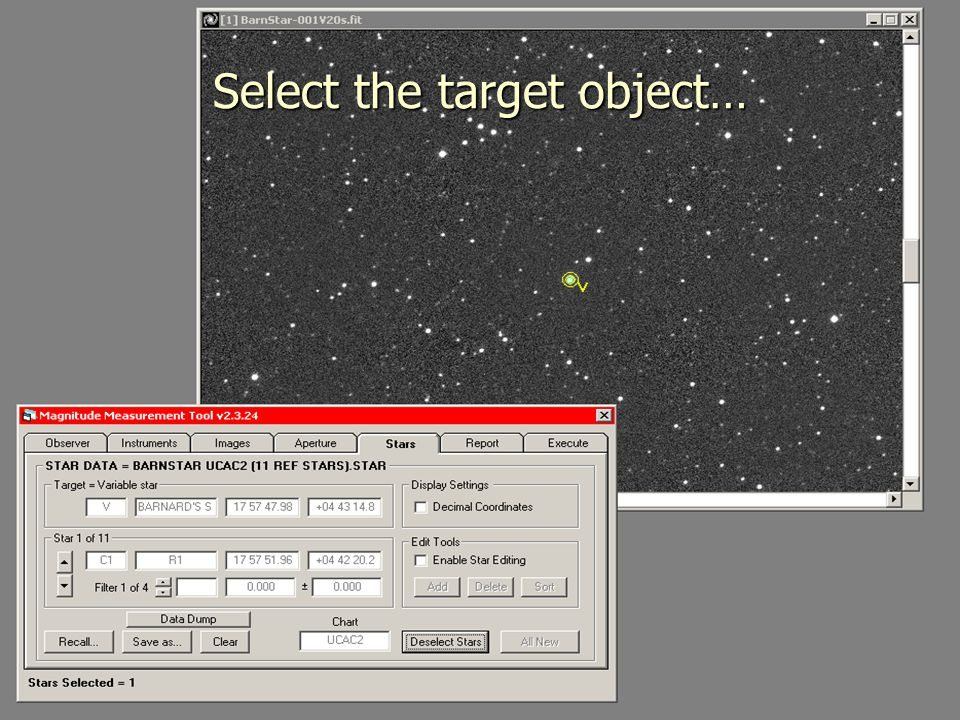 Select the target object…