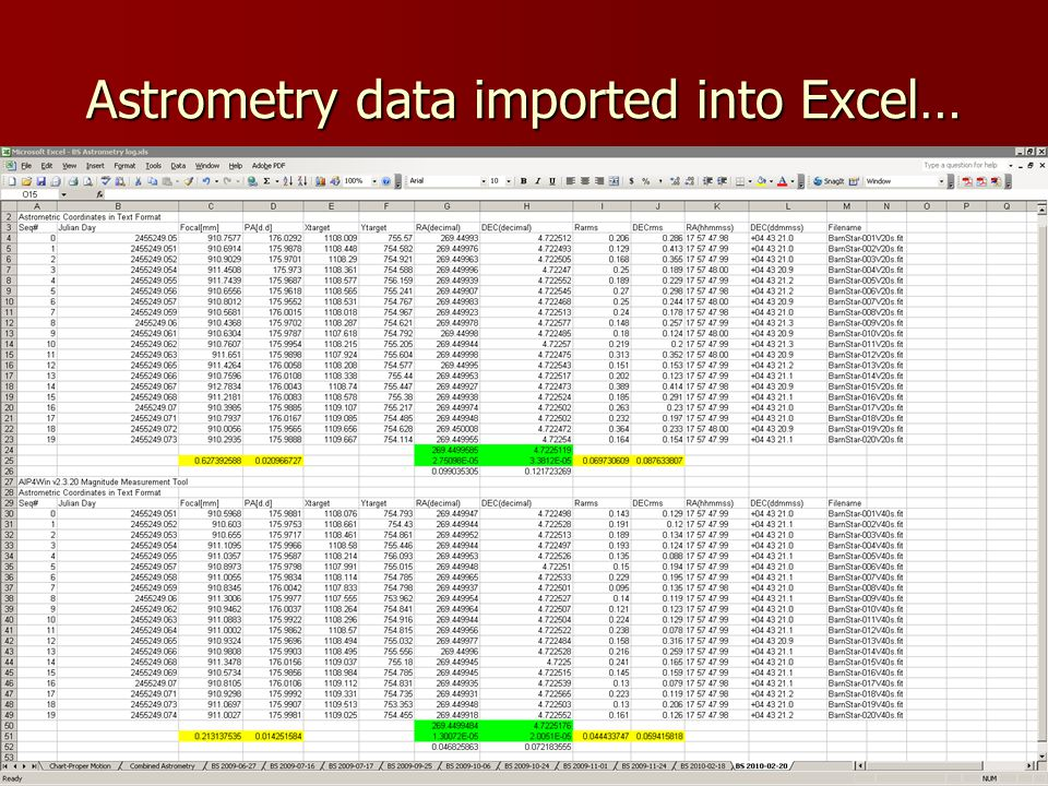 Astrometry data imported into Excel…