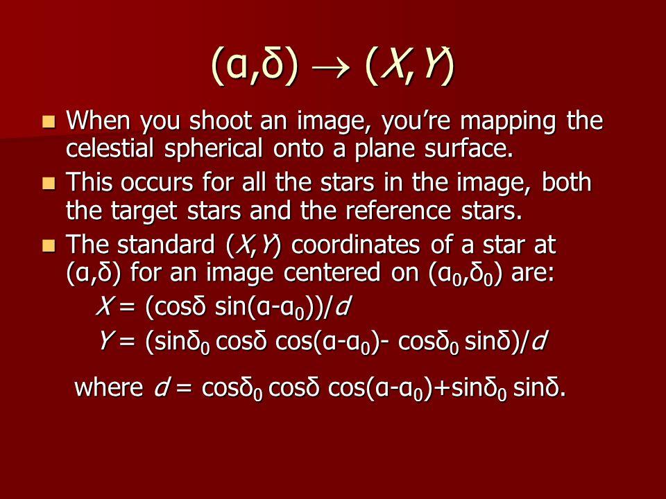 (α,δ)  (X,Y) When you shoot an image, you're mapping the celestial spherical onto a plane surface.