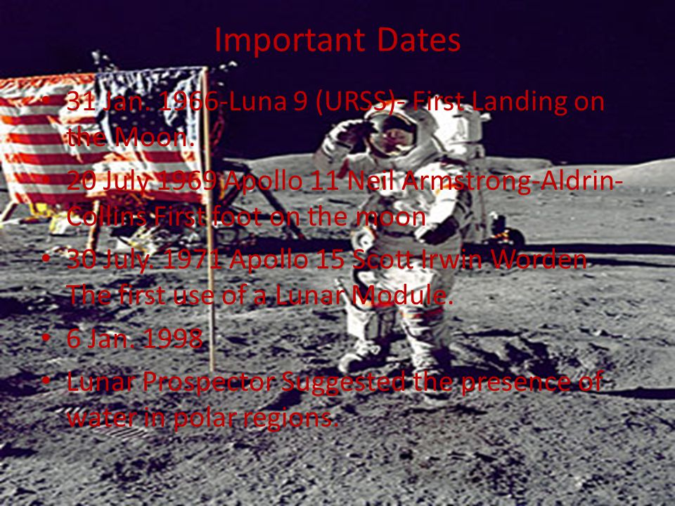Important Dates 31 Jan. 1966-Luna 9 (URSS)- First Landing on the Moon.