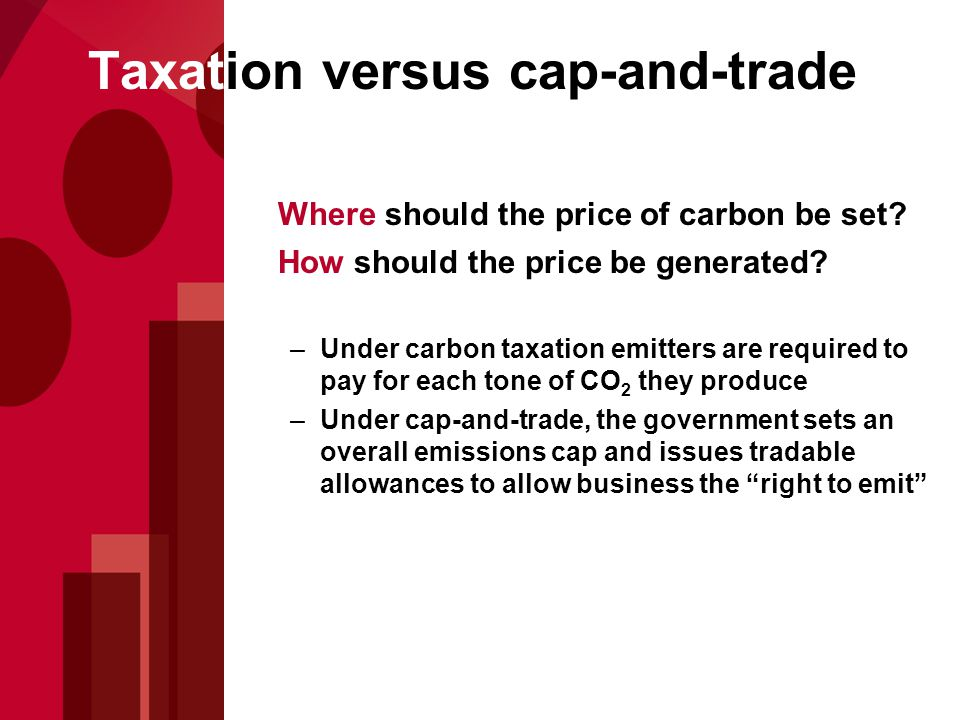 Where should the price of carbon be set. How should the price be generated.