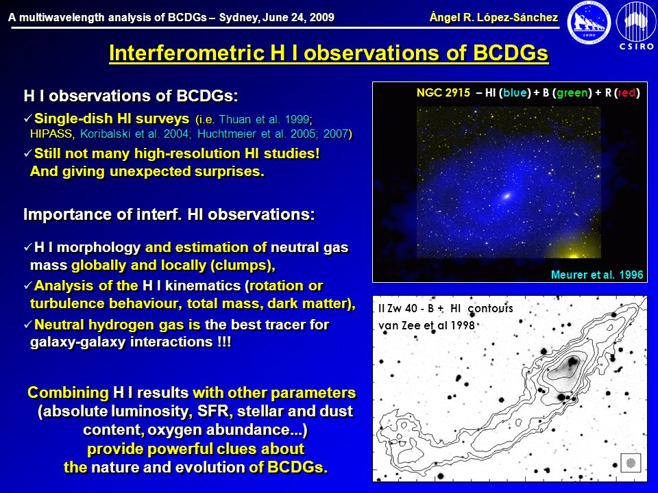 A multiwavelength analysis of BCDGs – Sydney, June 24, 2009 Ángel R.