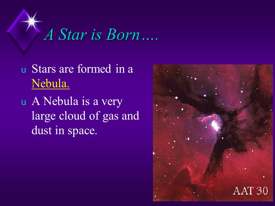 A Star is Born….u Stars are formed in a Nebula.