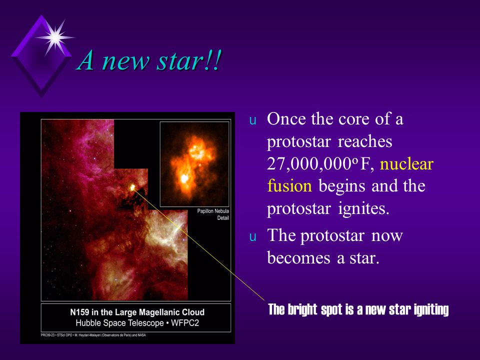 Protostars u As more gas is added to a protostar, the pressure in its core increases. u The increased pressure causes the gas molecules to move faster