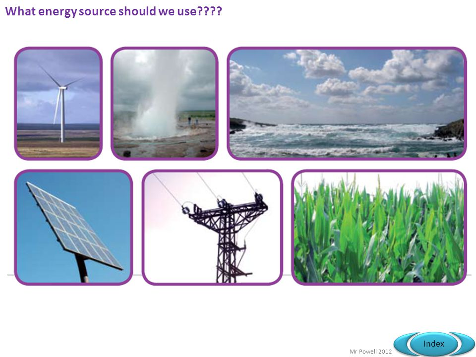 Mr Powell 2012 Index What energy source should we use